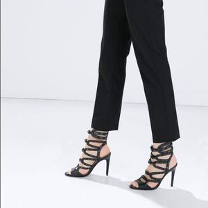💛Zara Leather high heel gladiator sandals (1530)