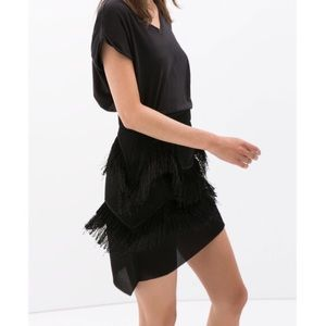 Zara Dresses & Skirts - Zara Perforated Neoprene and Fringe Skirt