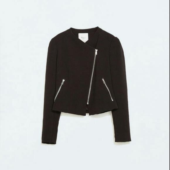 5cead9832 Zara asymmetrical zip moto jacket M perfect