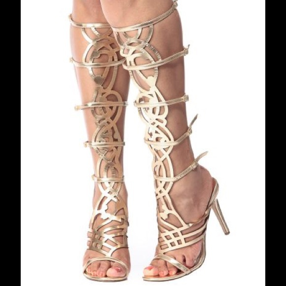 e8491449dfada Breckelles diva gold knee high gladiator sandals