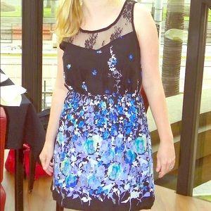 Anthropologie blue black flower dress small.