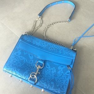 REBECCA MINKOFF unique perforated blue bag
