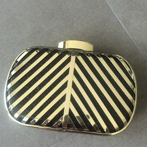 Chevron Gold/black mini handbag