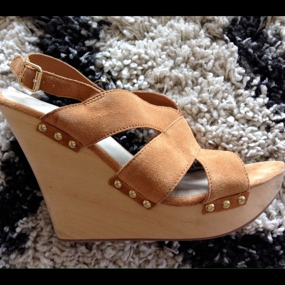 88 Off Gap Shoes Gap Suede Wedges With Wood Heel From