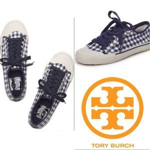 Blue Tory Burch gingham sneakers