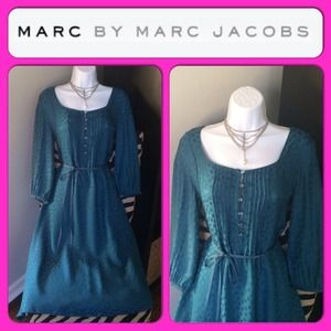 MARC BY MARC JACOBS Silk Teal Flower Printed Dress