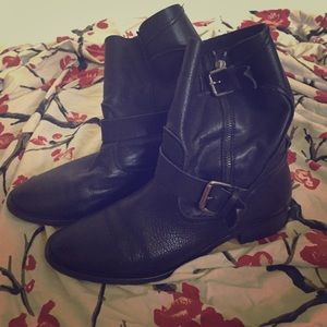 Zara leather biker boots