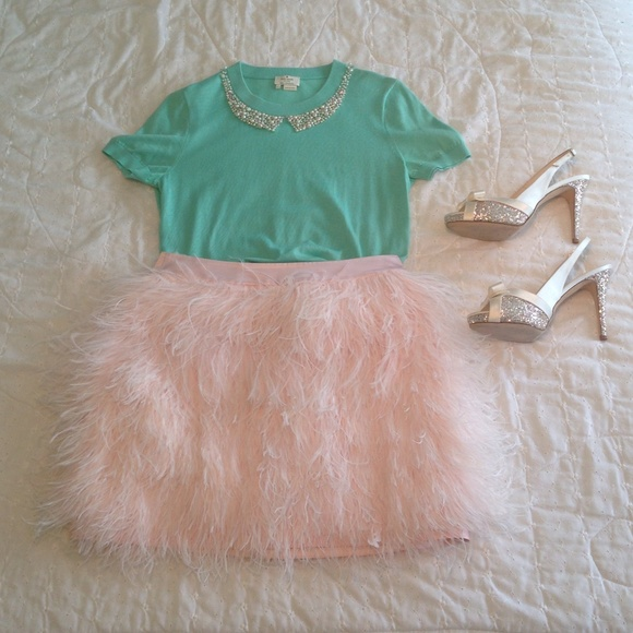 318657f9e7c3 kate spade Skirts | Pale Pink Ostrich Feather Skirt 8 | Poshmark