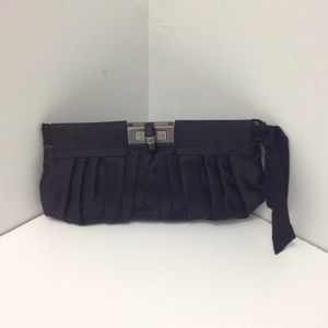 NWT Lanvin Black Satin Clutch
