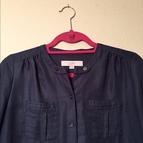 LOFT Tops - Loft Navy Blue Button Up, Size XS