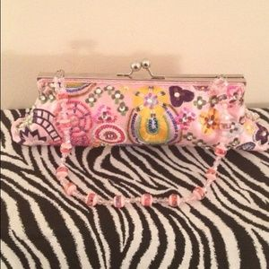 Clutches & Wallets - Pink embellished evening purse or clutch