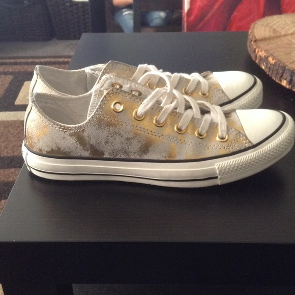 3665c1f29492 Converse Shoes - HOLDING Gold White Paint Splatter Leather Converse