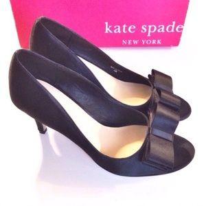 kate spade Shoes - 🆕kate spade black satin bow pumps 7.5