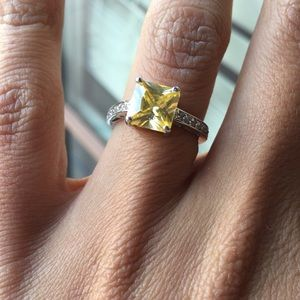 canary princess cut solitaire ring.