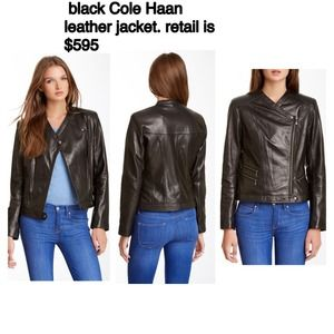 Black leather Cole Haan Jacket