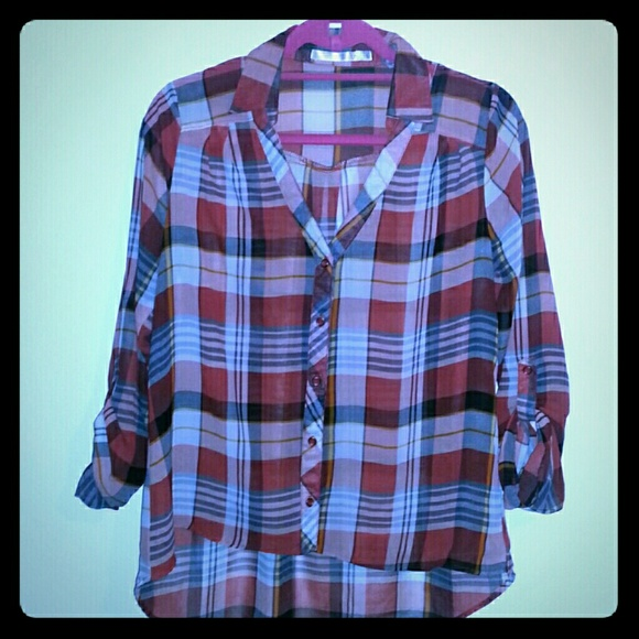 69 off have tops chiffon red black white flannel for Red black and white flannel shirt