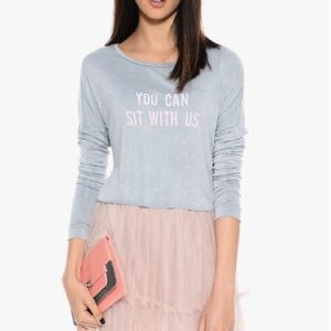 Tops - You can sit with us gray light pink graphic shirt