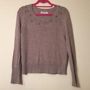 LOFT Sweaters - Loft Oatmeal Rhinestone Embellished Sweater Size S