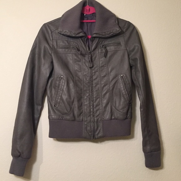 Sparkle & Fade Jackets & Coats - Gray Bomber Style Faux Leather Jacket, size XS