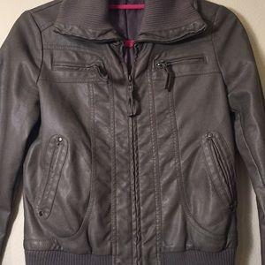 Sparkle & Fade Jackets & Coats - Gray Bomber Style Faux Leather Jacket, size XS