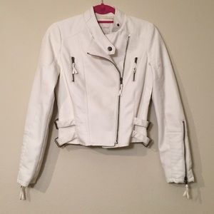 My Michelle Jackets & Blazers - White Faux Leather Jacket, Size S