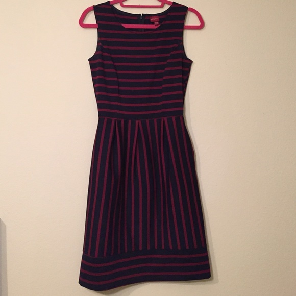 Merona Dresses & Skirts - Merona Navy and Maroon Striped Dress Size XS