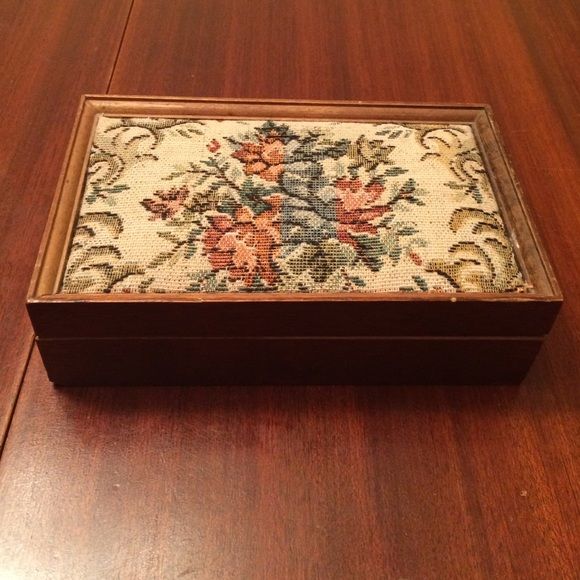 Vintage Accessories Wood Embroidered Jewelry Box Poshmark