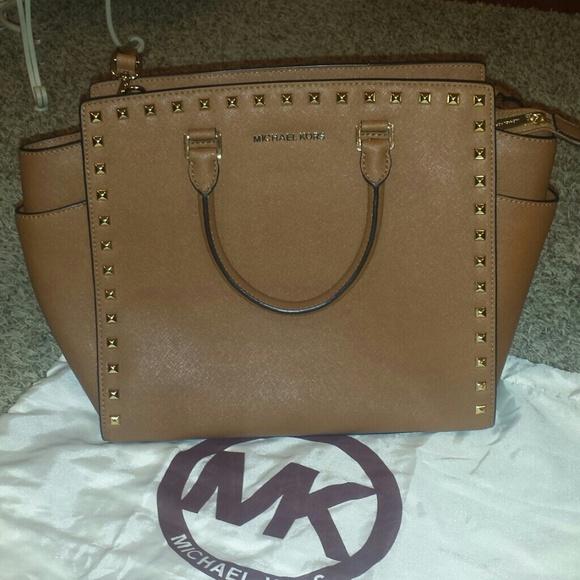 e1305a0fd50168 Michael Kors Bags | No Trades Xl Tan Mk Studded Selma | Poshmark