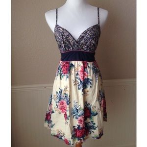 Pretty Floral and Navy Dress