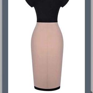 Be Seen Sales Dresses - NEW** Jersey Black and Tan Sheath Dress- Medium