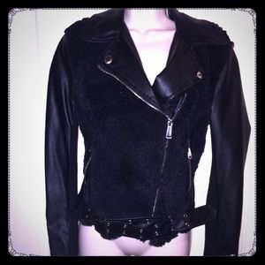 Black Motorcycle Biker Faux Fur Leather Jacket