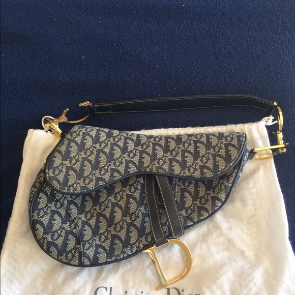 11a92b36a927 Dior Handbags - Vintage Dior denim saddle bag