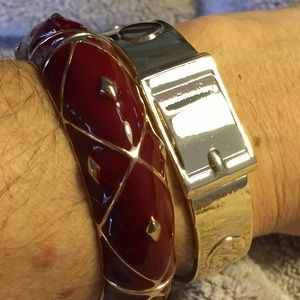 Be Seen Sales Jewelry - NEW** Enamel Argyle Hinged Cuff in Marsala