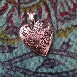 Sterling silver antique etched heart locket charm