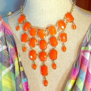 Bright Orange Bubble Statement Necklace