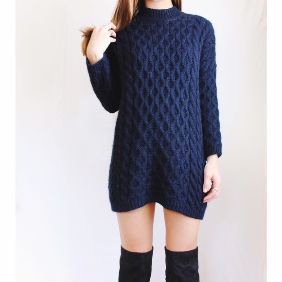 72% off Zara Sweaters - Zara • Navy Oversized Cable Knit Sweater ...