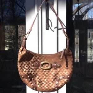 👜 Brown & Tan Logo Hobo Purse