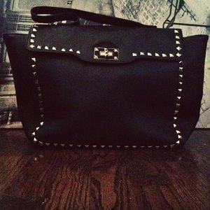 Black faux leather tote w/ gold studs