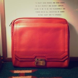 Asos Orange-red leather clutch