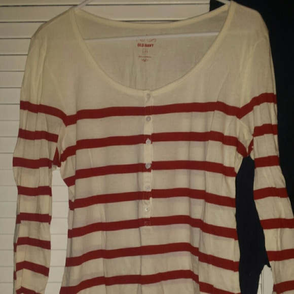 68 off old navy tops red and white striped half button for Red and white striped button down shirt