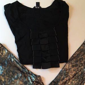 Tommy Hilfiger Black ruffle tee shirt