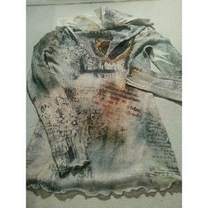 See through Heart knit Graphic Art with hood sz S