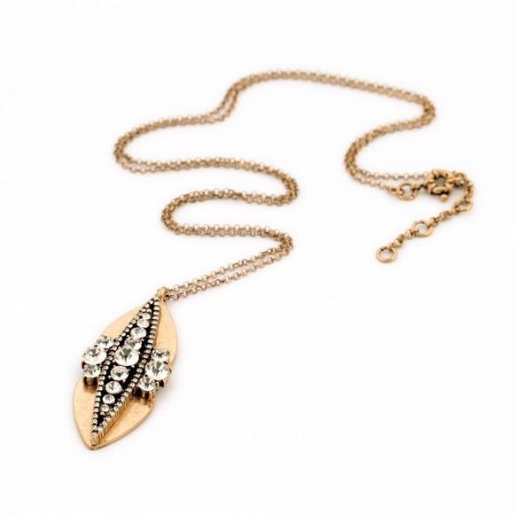 Gold Leaf Crystal Pendant Necklace