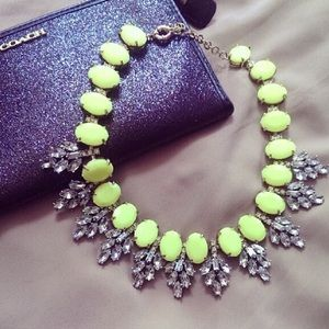 Neon Yellow Crystal Leaves Statement Bib Necklace