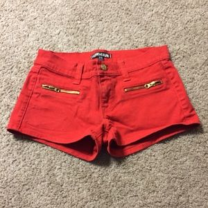 F21 red jean shorts