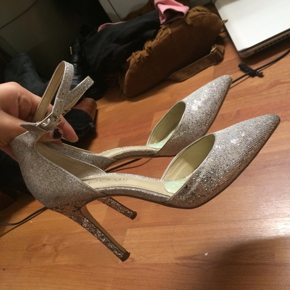 7e7eda7fd86 ALDO Shoes - Silver sparkly sparkle pointed ankle strap heels