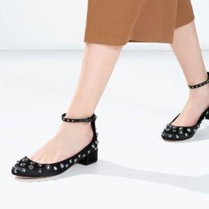Zara Studded Ballerina Flats 6&6.5
