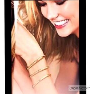 Victoria's Secret gold tone Cuff Bracelet Set
