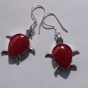 Jewelry - SS Bamboo Coral Turtle Earrings