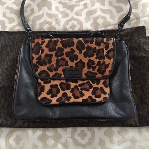 Rebecca minkoff leather and leopard bag